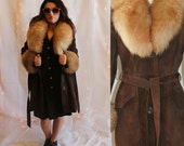 Vintage 70's Lantry Leathers Shearling Trim Brown Suede Jacket w/ Belt