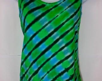 Green tie dye vest, Tie dye vest, Medium tie dye, Women's vest top, Ladies vest top, Alternative vest, Festival vest, size 10-12 UK Vest