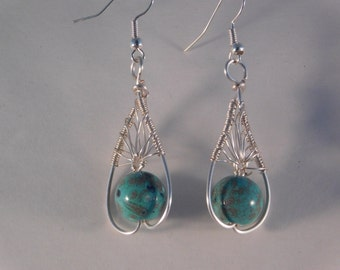 Turquoise and Silver Wire Wrapped Teardop earrings, wire wrapped earrings, hypo-allergenic, made in USA