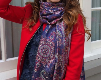 Purple and red silk paisley scarf