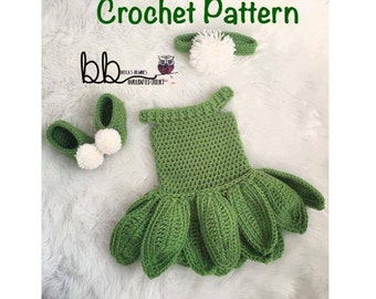 Tinkerbell Set -  PATTERN ONLY - Crochet - Sizes: 0-3 month, 3-6 month, 6-9 month, 9-12 month