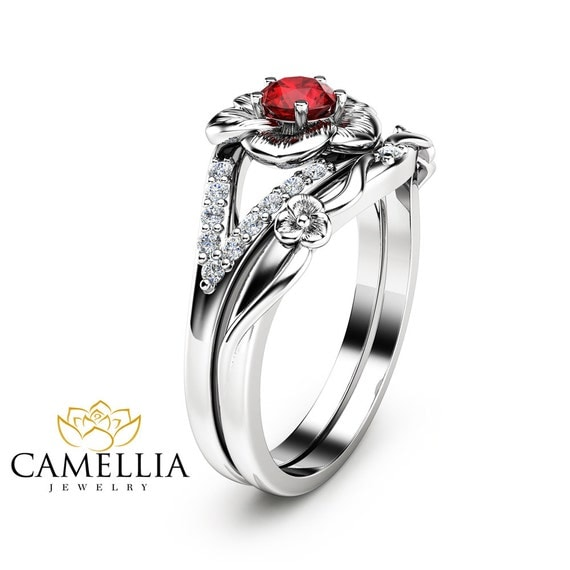 Ruby Engagement Ring Set Unique Flower Rings 14K White Gold