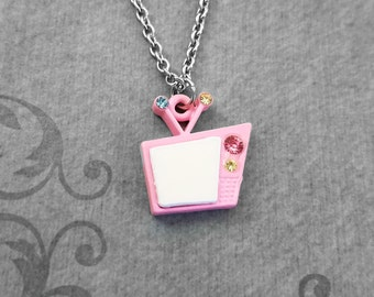 TV Necklace SMALL Retro Tv Jewelry Pink Tv Charm Necklace Television Necklace Television Jewelry Vintage Tv Pendant Necklace 1950's Jewelry