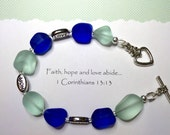 Faith Hope Love bracelet, Christian bracelet with recycled glass beads in blue and pale green, silver plated word beads and heart toggle.