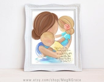 Room Decor for Babys Room Mother Daughter Son - Mother Brunette, Daughter Blonde, Baby Blonde - Family Wall Art Print