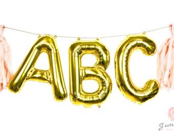 "16"" Custom Gold Balloon Banner, Wedding Photo Prop, Giant Balloon, Balloon Prop, Letter Balloon, Balloon Tassel Kit, Gold Glitter Party"