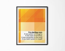 Starting over, Motivational poster, Printable poster, Wall art, Instant download, Printable quote, Digital poster, Scandinavian poster
