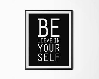 Believe in yourself, Motivational poster, Printable poster, Wall art, Printable quote, Wonderland, Scandinavian poster