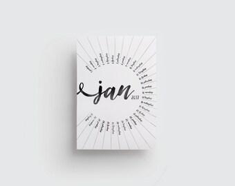 2017 Wall calendar, Wall planner, Circular calendar, Black wall calendar, instant download, letter size, Round calendar, Printable calendar