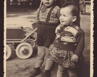 Brother and sister portrait - Boy & girl, retro, RPPC photo postcard, Belgium ca 1950 - Collectible vintage portrait photograph (V14-22)