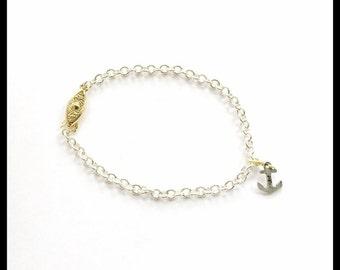 Silver & Gold Chain Nautical Anchor Charm Bracelet