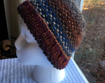 Hand-Knit Hat - Seed-Stitched Stripes