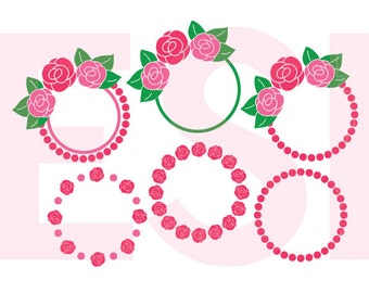 Circle Frame SVG, Flower Monogram, eps, dxf, png Rose, Summer SVG Files use with Silhouette Studio & Cricut Design Space