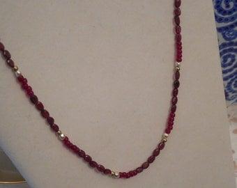 Red Garnet Necklace Marsala Burgundy Necklace January Birthstone Valentine's Day Handmade OOAK Necklace