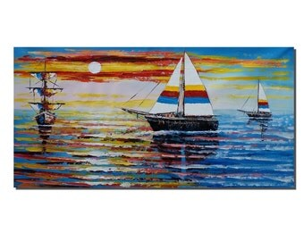 Ocean Oil Painting, Canvas Painting, Sail Boat Painting, Abstract Art, Original Painting, Large Painting, Wall Art Decor, Seascape Painting