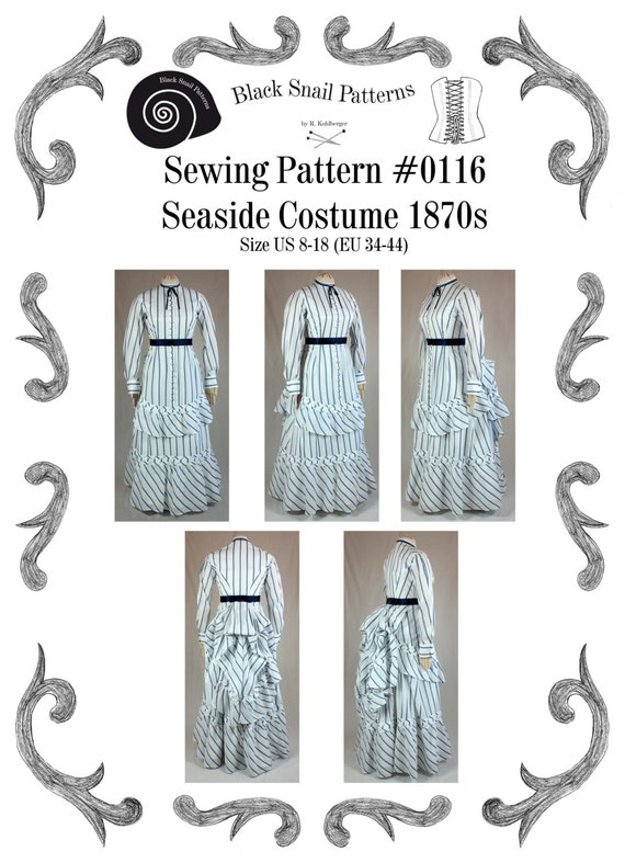 Steampunk Sewing Patterns- Dresses, Coats, Plus Sizes, Men's Patterns 1870 Victorian Dress Seaside Costume Sewing Pattern #0116 Size US 8-30 (EU 34-56) PDF Download $9.90 AT vintagedancer.com