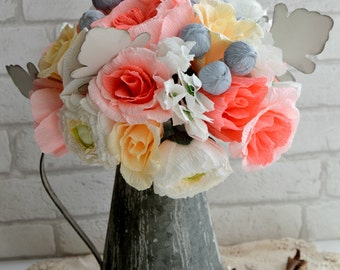 Crepe paper flower bouquet wedding paper flowers bridal paper flower bouquet paper anniversary flowers. ( FE272293)