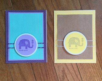Handmade Thanks A Ton Elephant Card with Envelope