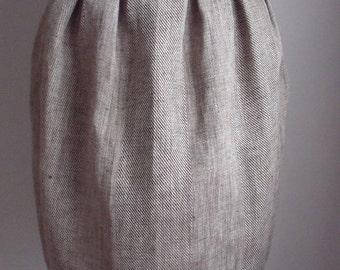 Birch stripe Linen Tulip Skirt