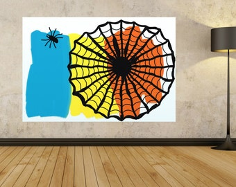 Spiderweb black and white spider Large Abstract Painting On Canvas Minimalist Canvas Art blue orange yellow Giant painting Handmade Unique