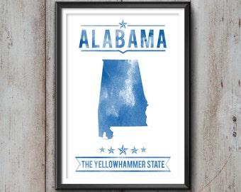 ALABAMA State Typography Print, Typography Poster, Alabama Poster, Alabama Art, Alabama Gift, Alabama Decor, Alabama Print, Alabama State