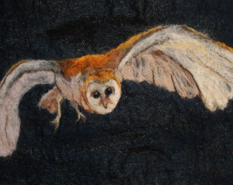 Flight of the Barn Owl, felted picture of a barn owl