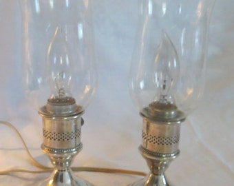 Pair Electrified Sterling Silver Hurricane Lamps