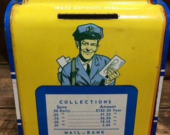 Vintage Colorful Tin Mailbox Bank Made By The Ohio Art Co Collectible Mail Bank Tin Box --Made in the USA
