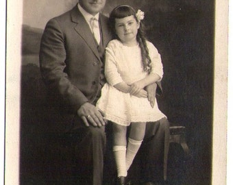 Vintage Photo Postcard of Father and Daughter