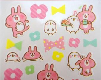 Japanese Kanahei stickers - Piske & Usagi - kawaii planner stickers - pink bunny stickers - cute chick stickers - kawaii emoji - emoticons