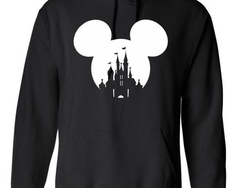 On Sale - Mickey Mouse or Minnie Mouse Head with Disney Castle Hooded Sweatshirt