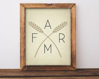 Farm print - Rustic Farmhouse printable - farm wall art - farmhouse wall art- farm wall art printable- instant download wheat farm printable