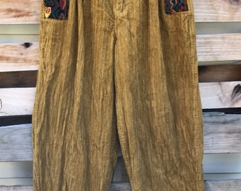 Vintage Boxx Corduroy Baggy Parachute Pants with Tribal Pattern on Fly and Pockets Waist Size 32