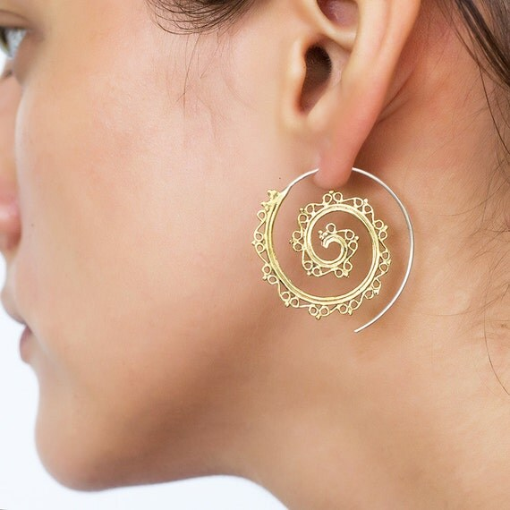 Spiral brass silver earrings. tribal earrings. boho earrings. gypsy earrings. hoop earrings. tribal jewelry. spiral earrings. large hoops.
