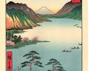 """Woodblock print, Japanese Ukiyoe, Hiroshige, """"Lake Suwa in Shinano Province"""", Thirty-six Views of Mount Fuji ."""