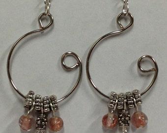 Silver and Copper Open Hoop Earrings