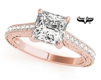 Moissanite Engagement Ring 14kt Rose Gold, Forever One, Wedding Ring, Side Diamonds, Pricess, Square Cut #7468