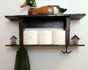 Bathroom Shelf With Towel Hooks-Rustic Towel Rack-2 Tier Bathroom Shelf-Reclaimed Wood Furniture-Wooden Coat Rack-Wall Coat Rack