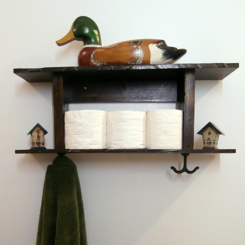 Bathroom Shelf With Towel Hooks Rustic Towel Rack 2 Tier
