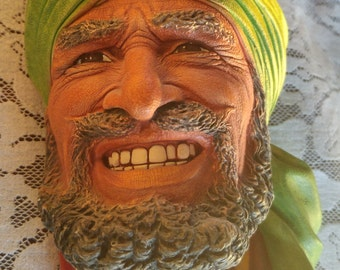 Bossons Head | Punjabi | Wall Mask | Congleton, England | Green Turban | Chalkware Figure | Collectible Bossons | Hand Painted
