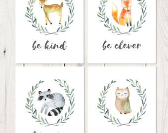 Woodland Nursery Prints // Be Brave Be Kind // Woodland Nursery // Baby Shower // Raccoon, Fox, Owl, Deer // Woodland Wall Art Watercolor
