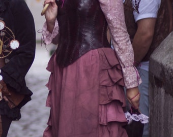 "Long elegant skirt with frills and long sleeved lace blouse - Dark ""dirty"" pink Victorian, post-apo set"