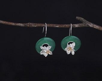 Lotus Flower Earring-Circular Gemstone Dangle-Sterling Silver Earring-Fish hook-Natural Stone-Gift for her