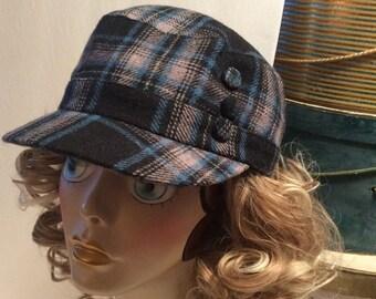 20% OFF SALE Vintage D&Y Plaid Wool Newsboy Hunting/Driving Cap Hat
