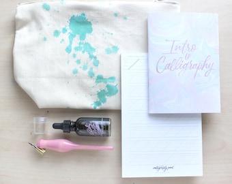 Calligraphy Kit - Blue Splatters Bag