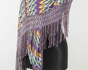 Vintage Knitted Mercerized Cotton Central Asian SHAWL, Scarf, ships free with ups.