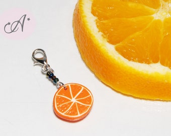 Charm for zipper, clementine, orange fimo, bag clementine, clementine fimo slice, orange accessory, fruit fimo