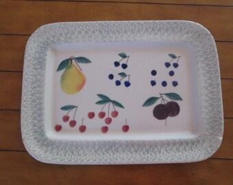 """HARSTONE POTTERY Serving Platter """"Fruit Salad"""" Vintage"""