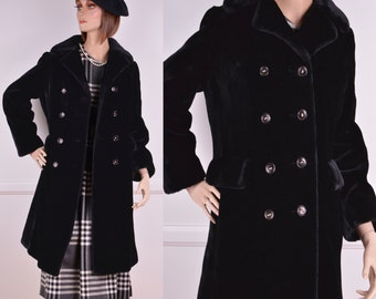 70s Black Faux Fur Double Breasted Coat