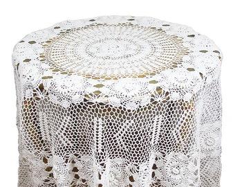 Vintage Round Crochet Tablecloth Lace Tablecloth Cottage Chic Decor Round  Tablecloth Cream Tablecloth Beige Tablecloth Crocheted